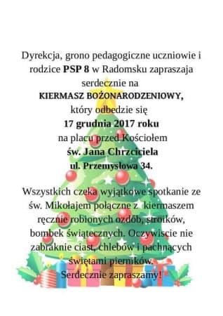 Kiermasz świąteczny z PSP nr 8