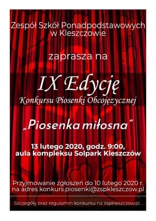 Konkurs Piosenki Obcojęzycznej w Kleszczowie w tym roku o miłości