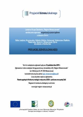 """Konkurs """"Przyjaciel Biznesu Lokalnego"""" dla gminnych organizacji pozarządowych"""