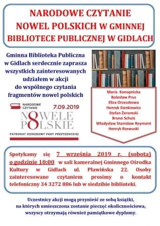 Narodowe czytanie nowel w Gidlach
