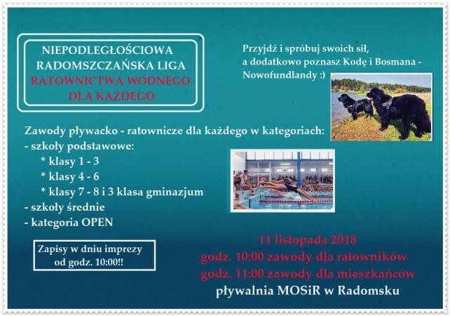Niepodległościowe zawody ratowniczo-pływackie na basenie w Radomsku