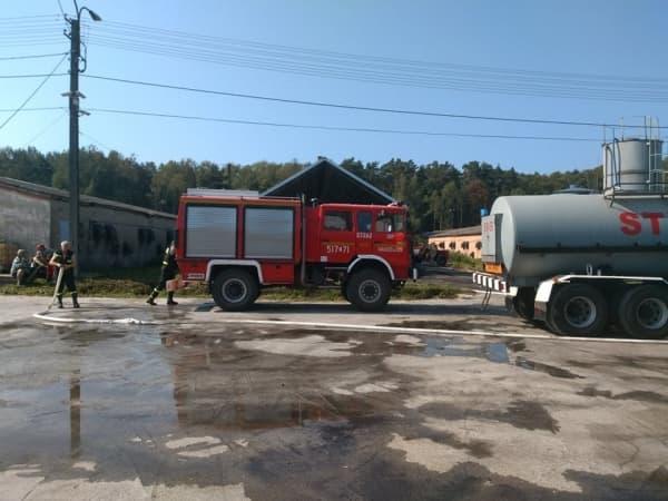 Pożar miału w Przerębie. Spłonęło 30 ton