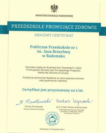 Przedszkole nr 1 w Radomsku z certyfikatem MEN