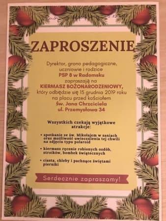 PSP nr 8 w Radomsku zaprasza na Kiermasz Bożonarodzeniowy