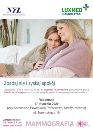 W styczniu bezpłatne badania mammograficzne w Radomsku