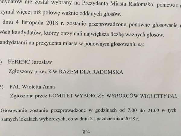 Wybory w Radomsku. Frekwencja wyniosła 42.70%