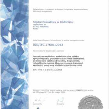 Szpital otrzymał kolejny certyfikat ISO