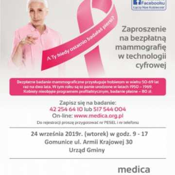 Zaproszenie na bezpłatne badanie mammograficzne w Gomunicach