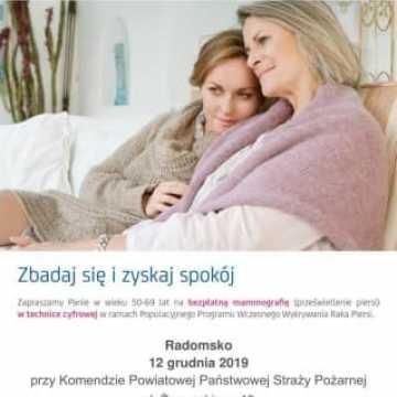 Bezpłatne badania mammograficzne w Radomsku