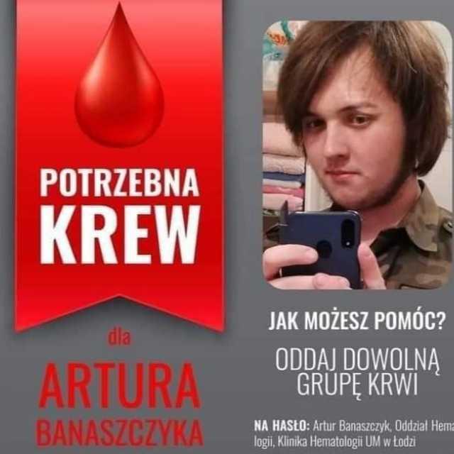 W Wolborzu będzie można oddać krew m.in. dla Artura Banaszczyka z Przedborza