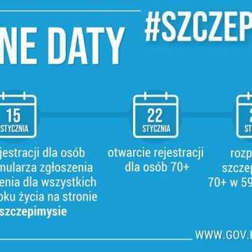 Od 15 stycznia rejestracja na szczepienia dla osób 80+, od 22 stycznia dla osób 70+; szczepienia od 25 stycznia