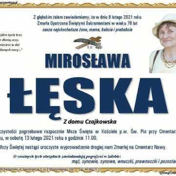 Ostatnie pożegnanie Mirosławy Łęskiej. Pogrzeb w sobotę 13 lutego