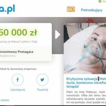 Anonimowy darczyńca przekazał 50 tys. złotych na leczenie Mateusza Czapli!
