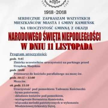 11 listopada w Kamieńsku (program uroczystości)