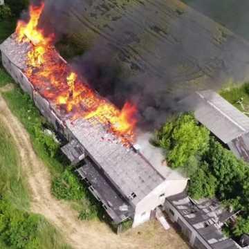 Pożar budynku gospodarczego w Dmeninie
