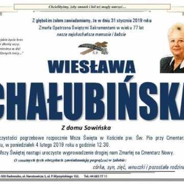 Odeszła Wiesława Chałubińska