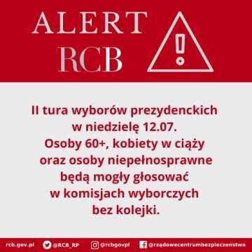 Alert od RCB: II tura wyborów. Zmiana zasad obsługi wyborców