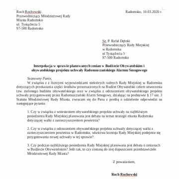 Młodzi radni interpelują u Przewodniczącego Rady Miejskiej w Radomsku