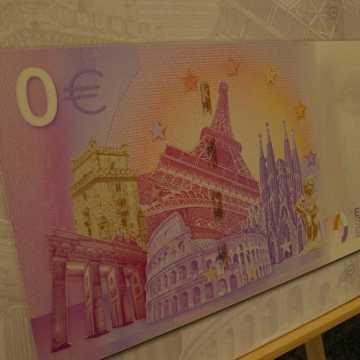"""Jan Benigier na kolekcjonerskim banknocie """"0 Euro – RKS Radomsko"""""""