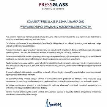 """Firma """"Press Glass"""" wydała oświadczenie w sprawie przebywających w zakładzie obywateli Włoch"""