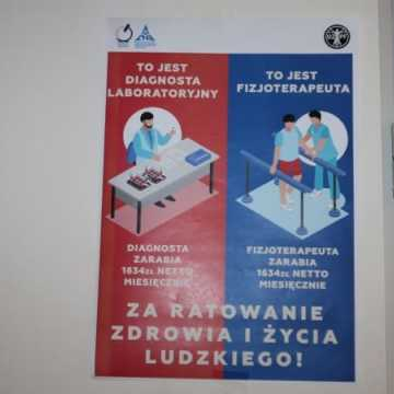Akcja protestacyjna fizjoterapeutów i diagnostów ze szpitala w Radomsku