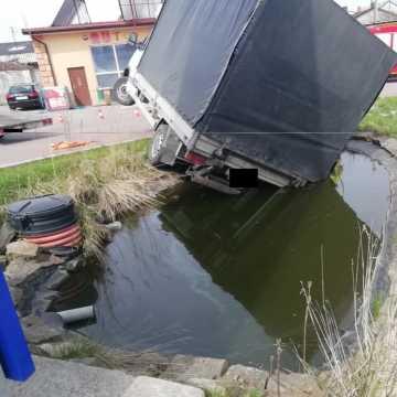 Samochód stoczył się do oczka wodnego