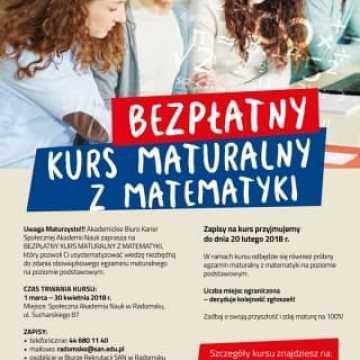 Bezpłatny kurs maturalny z matematyki w SAN Radomsko
