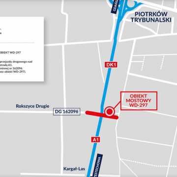 Nowy wiadukt nad A1 na drodze Rokoszyce – Piotrków Tryb.