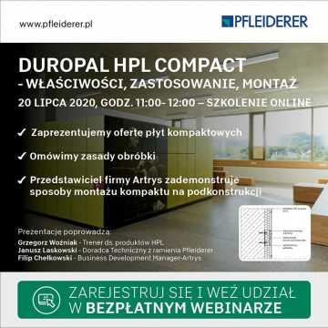 Szkolenie online Duropal HPL Compact. Firma Korner zaprasza na webinar 20 lipca