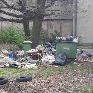 """""""Morze"""" śmieci na jednym z podwórek w centrum Radomska"""
