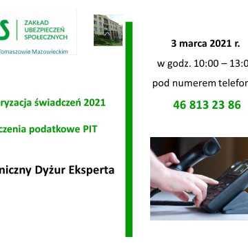 Waloryzacja świadczeń 2021, rozliczenia podatkowe PIT za 2020. Telefoniczny dyżur eksperta