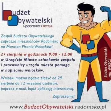 """27 sierpnia """"Maraton Pisania Wniosków"""" do Budżetu Obywatelskiego"""